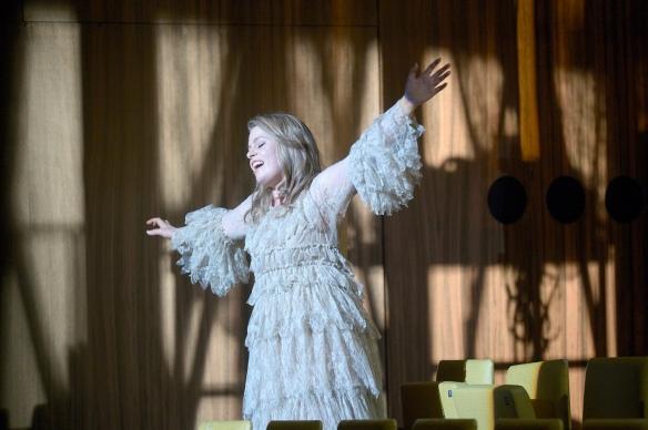 Siobhan Stagg as Gilda (flying) - Rigoletto at Deutsche Oper Berlin - October 2016. Photo credit: Bettina Stöss