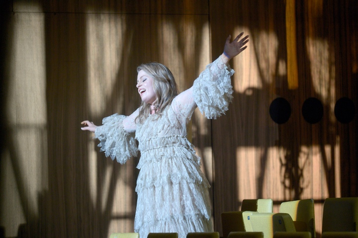 Siobhan Stagg as Gilda (flying) - Rigoletto at Deutsche Oper Berlin - October 2016. Photo credit: Bettina Stöss